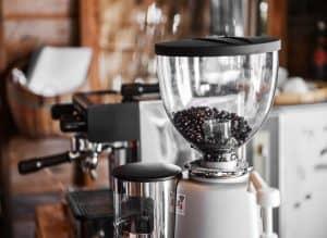 Burr Coffee Bean Grinder at Coffee Shop