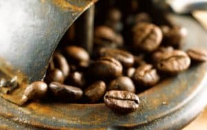 Coffee beans ready to be ground