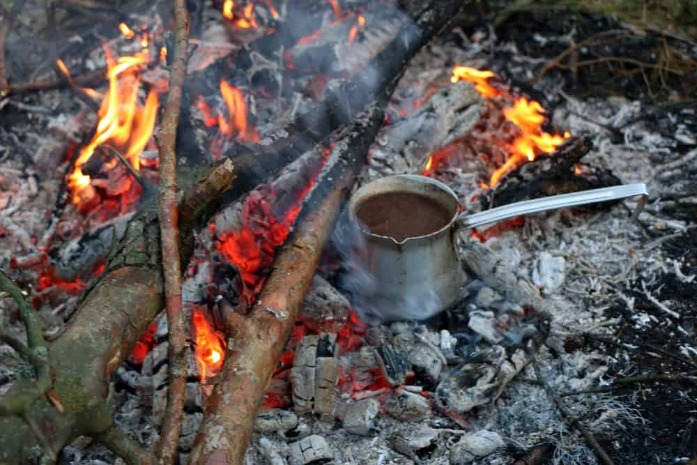 Making yourself a cup of joe when camping