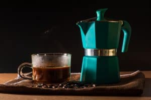 Freshly brewed coffee in a Moka Pot - Better than Aeropress
