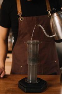 Preparing to make Espresso with an Aeropress