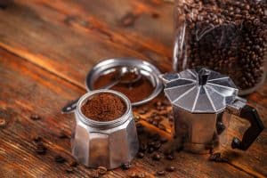 Setting up the coffee to brew in a Moka Pot