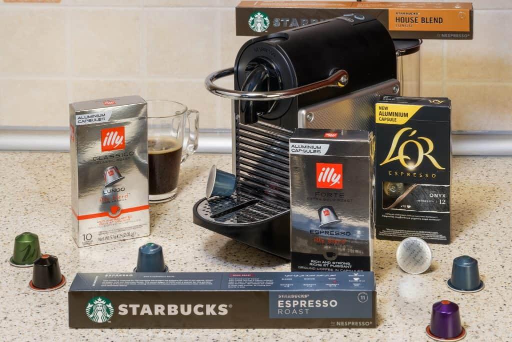 Nespresso Pod Machine and coffee pods